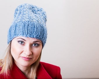 Blue on Blue Unisex Hand Knit Beanie Hat