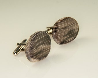 Super Rare Agatized Prehistoric Black Sycamore Tree Wood Cufflinks 26x19 mm OOAK  S-32