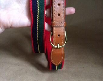 WEEKEND SALE 25% OFF / vintage Lands End color block belt /  brass buckle / leather buckle strap / made in England / 90's vintage retro