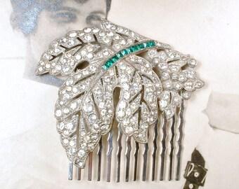 OOAK 1920s Art Deco Emerald Green Bridal Hair Comb, Vintage Wedding Silver Leaf Rhinestone Dress Clip to Headpiece Antique Gatsby Hair Piece