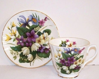 Crown Victorian Violets and Floral Bone China Tea Cup and Saucer  (1292-1)