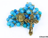 Catholic Rosary Blue Dragon Vein Agate Antique Bronze Traditional Natural Stone Rosary Beads
