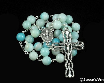 Anglican Rosary Beads Amazonite Natural Stone Gemstone Episcopal Christian Prayer Beads Silver