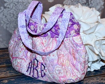 Little Girls Purse ~ Quilted, Lined and Fun Bright Prints ~ Personalization Option ~ Girly and Sweet ~ Pink & Purple Paisley