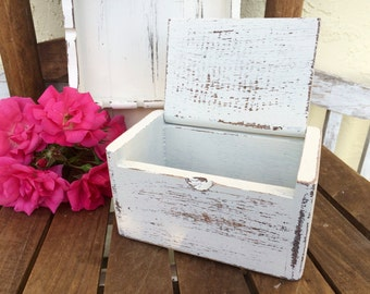 Vintage White Shabby Wood Recipe Box Farmhouse