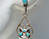 Zuni Turquoise Inlay Sterling Silver Earrings Butterfly Dangle Mosaic Vintage