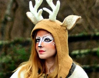Cosplay Druid Deer Hood. Stag Antler Hat. Fantasy Hat. Shamanic Hat. LARP.