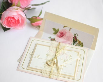 Lace Wedding Invitations, Floral Liner Invite, Blush Wedding Invitations, Gold Glitter Invitation, Lace Invite - Vintage Romance with Liner