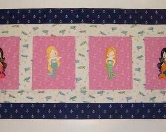 Custom Embroidered Mermaid Window Valance, choose the fabrics and images, Fish, Crab, Seahorse, Turtles