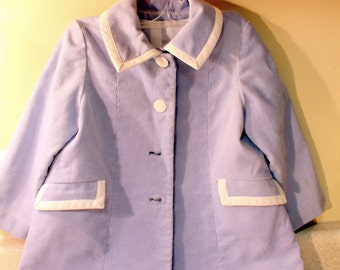 Vintage Hand Tailored Toddler Girls Coat Baby Blue Corduroy Lined w Front Pockets