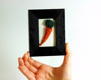 Ready to Ship! 3D Carrot in a Mini Frame. Punchneedle Embroidery Fiber Art. Home, Office, or Kitchen Decor. Orange, Green, Brown. Foodie