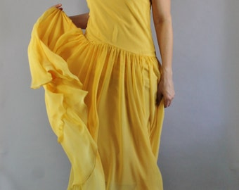 Silk Chiffon Dress, Bright Yellow, Sleeveless, Boho, Festival, Wedding Guest, Summer Dress, Easter, Dance, Flapper, Retro 20s, Medium