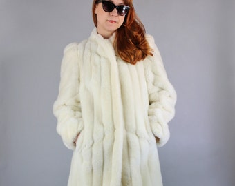 Vintage 80s Women's Cream Faux Fur Glamorous Winter Wedding Long Dress Coat// Vegan Fur