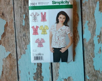 Simplicity Sewing Pattern - Simplicity 2601 - S2601 - Blouse with Variations - Summer Top - Short Sleeved Blouse - Sleeveless Shirt - Medium