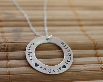 Mom Necklace, Kids Names, Washer Necklace in Sterling Silver