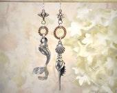 Other Worlds - Asymmetrical Earrings OOAK Sterling Silver Mermaid Earrings Mixed Metals Siren Assemblage Beach Jewelry Statement Earrings