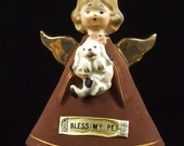 Vintage Retro Angel Figurine Bless My Pet Holding Puppy Dog Lefton Numbered Gold Paint Angel Wings ATCTTEAM TNTEAM