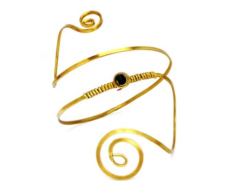 Gold Arm Cuff, Upper Arm Cuff, Brass Armband, Gold Armlet, Spiral Arm Band, Arm Bangle, Upper Arm Bangle