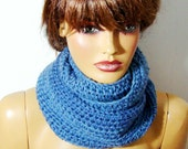 Long Scarf, Knit Scarf, Crochet Long Scarf Cowl, Loop Scarf, Neck warmer,Blue Scarf,Fall Fashion,Infinity Scarves,Winter Accessories,For Her
