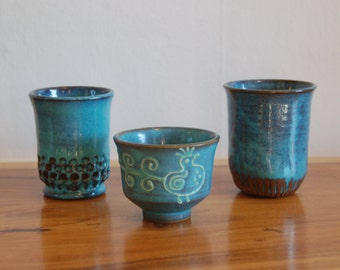 MCM Sculptors Richard Schneider and Bud McBride at Crow Valley Craft / Crow Valley Pottery Tumblers & a Tea Bowl