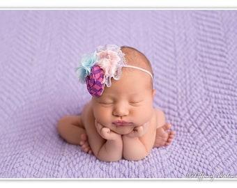 Petal Pusher  pink purple and blue rosette and chiffon headband bow