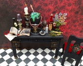 Dollhouse Miniature Witch or Wizard Potion Master's Desk and Chair Set