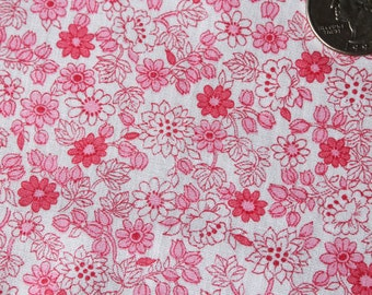 Antique 1950's FABRIC -Tiny Calico Pink Floral