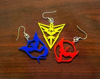 Pokemon Go - Team Valor / Instinct / Mystic - Laser Cut Earrings