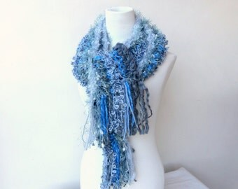 Blue knit scarf Chunky grey and blue scarf Unique hand knitted scarves