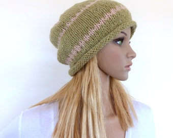 Green Slouchy Hat Slouch beanie Hand knit hat Green hand knitted slouch beanie