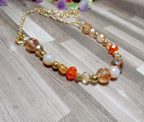 Orange Tone Beaded Necklace - Summer Necklace - Statement Necklace - Free US Shipping