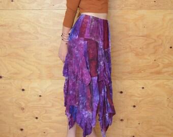 Vintage 80's Hippie Tie Dye Hanky Hem Purple & Maroon Maxi Skirt SZ M/L