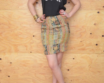 Vintage 80's Patchwork Tapestry Pencil Skirt  In Tan & Black Floral Paisley Pattern Size S