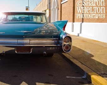Classic Car - 1960 Cadillac - Square Retro Metallic Fine Art Photograph - American Automobilia - Cruisin the Coast - Blue Automotive Decor