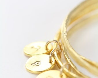 Initial Gold Bangles Personalized, 3 Stacking Bangles Bracelets Nu Gold, Hammered Bangles Boho Style