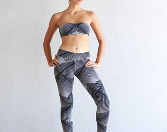 Organic Cotton Leggings - Printed Leggings - Yoga Pants - Patterned Leggings - Best Leggings - Black and White Leggings