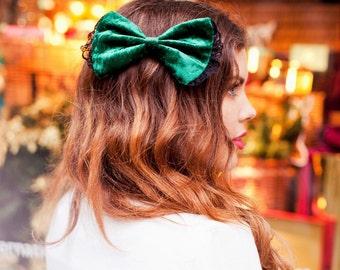 Bottle Green Velvet Hair Bow