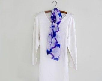 Silk Scarf, Purple,  Royal Blue and White , Shibori , Hand-dyed