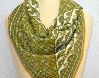 Vintage square scarf: Art Nouveau Intricate Geometric Patterned Gold Lime Green Silver