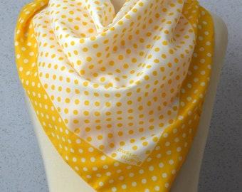 Vintage Square Scarf: Polka dots, Yellow, White, Sunny, Bright, Spring