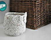 Small Oatmeal Owl Basket Crocheted Bin Yarn Holder Woodland Nursery Decor Home Organizer Custom Colors