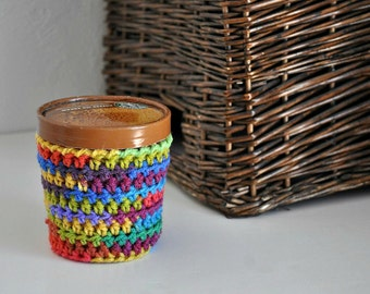 Rainbow Ice Cream Cozy Crocheted Holder Pint Size Eco Friendly Reusable Cover Ice Cream Holder Friend Gift Easy Hold