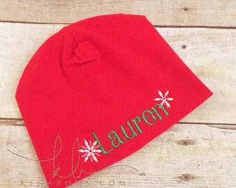 Christmas Newborn Hat, New Baby Red Beanie, 1st Christmas Baby, Snowflake, Personalized, Baby Shower Gift, Infant Girl Hat