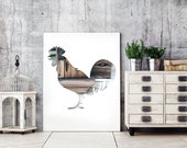 bird poster, rooster silhouette print, 11x14 animal art, kitchen decor, brown bird print, farm animal print, gray chicken print, kitchen art