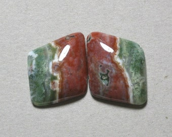 OCEAN JASPER cabochon matching pair 18X23mm two freeform designer cabs