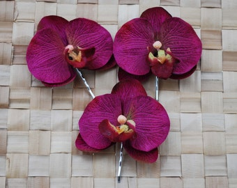 Beautiful 3 small orchid bobby pin set in purples vintage rockabilly bride wedding hairflower