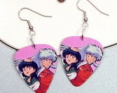 Inuyasha & Kagome Happy Together Earrings - Guitar Pick Earrings