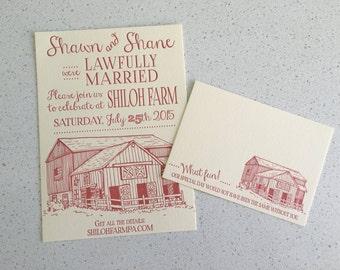 Letterpress Wedding Invitations - Barn