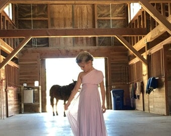 Girls Pink Swan Tulle Chiffon Long Infinity Twirl Dress~Aline Maxi-Custom Choose any fabric! Southern Blush with Pink