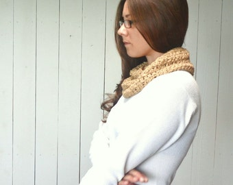 Cotton Cowl Crochet Infinity Scarf Mens Womens Cotton Wrap Scarf More Color Options